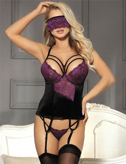 Exquisite Purple Lace Underwired Sexy Babydoll Lingerie Set