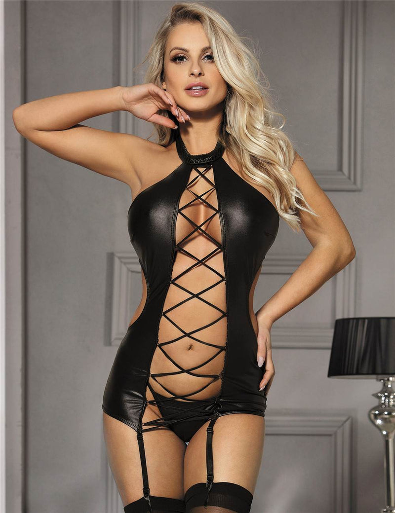 Bandage Plus Size Black Faux Leather Lingerie Sleeveless Babydoll