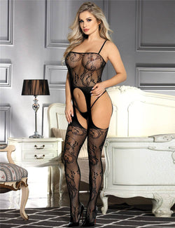 Stylish Plus Size Stretchy Open Crotch Black Fishnet Bodystocking