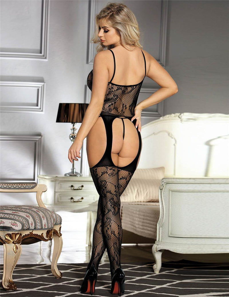 Super Delicate High Stretchy Open Crotch Black Bodystocking