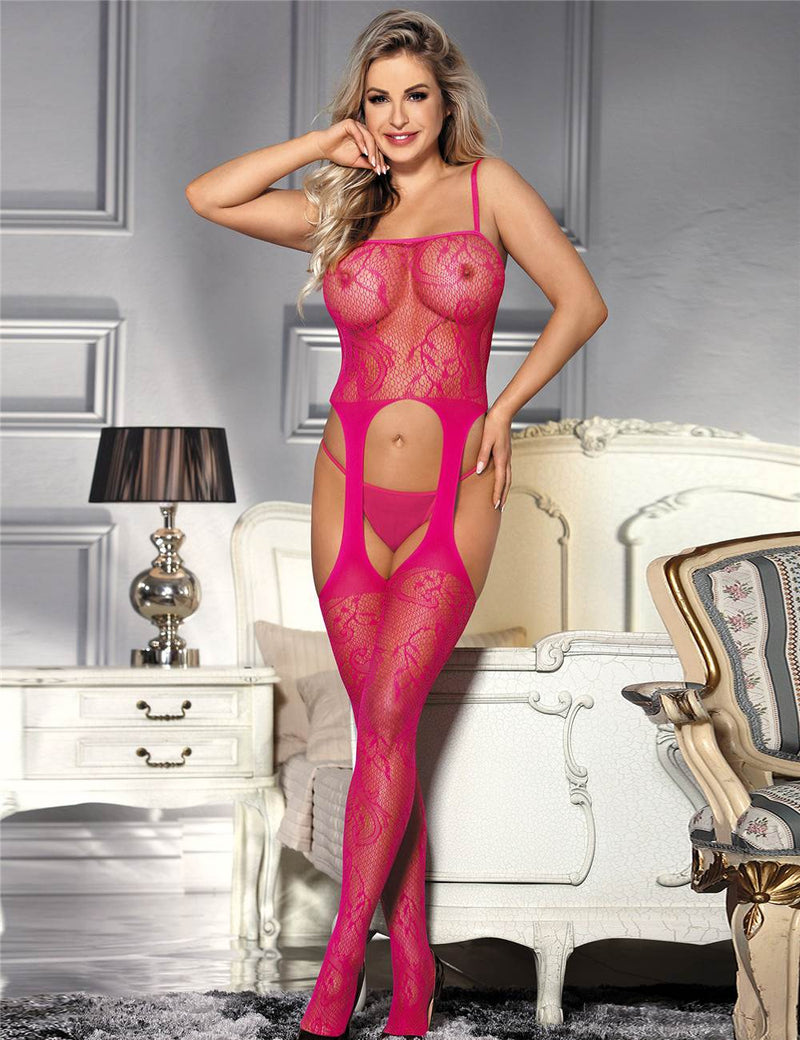 Extreme Lovely Stretchy Open Crotch Pink Fishnet Bodystocking