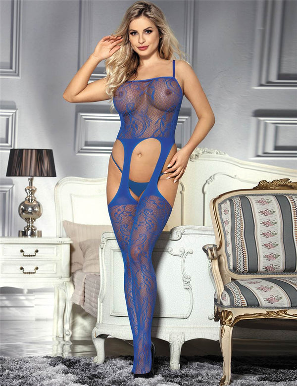 Exquisite Super Stretchy Crotchless Blue Fishnet Body Stockings