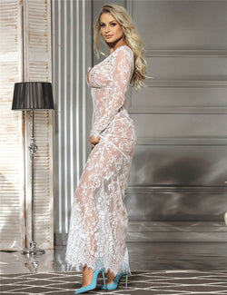 Classy White Lace Long Sleeves See Through Sheer Maxi Gown