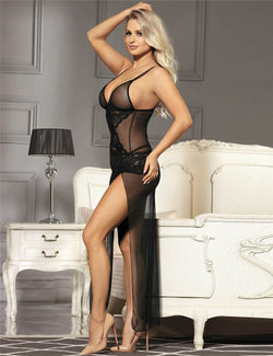 Black Mesh And Lace Stitching Elegant High Split Sleep Gown