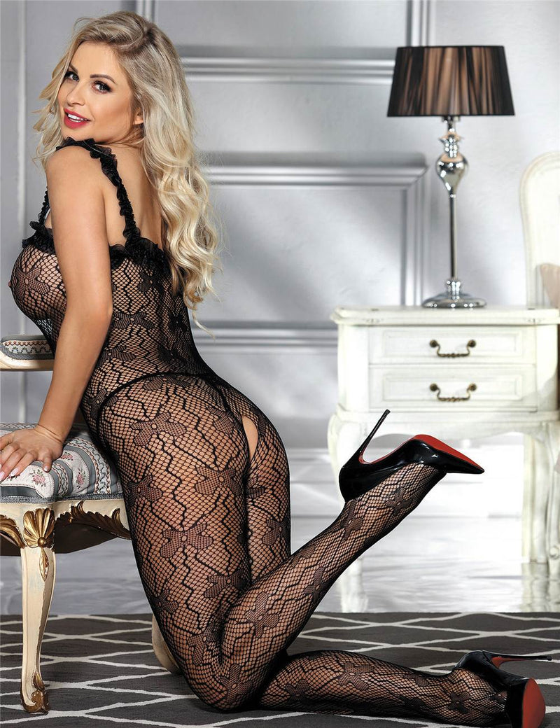 Hot Sale Extreme Delicate Lace Straps Sexy Black Fishnet Bodystocking
