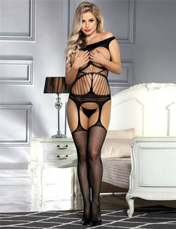 Super Erotic Black Off Shoulder Open Cup Crotchless Bodystocking