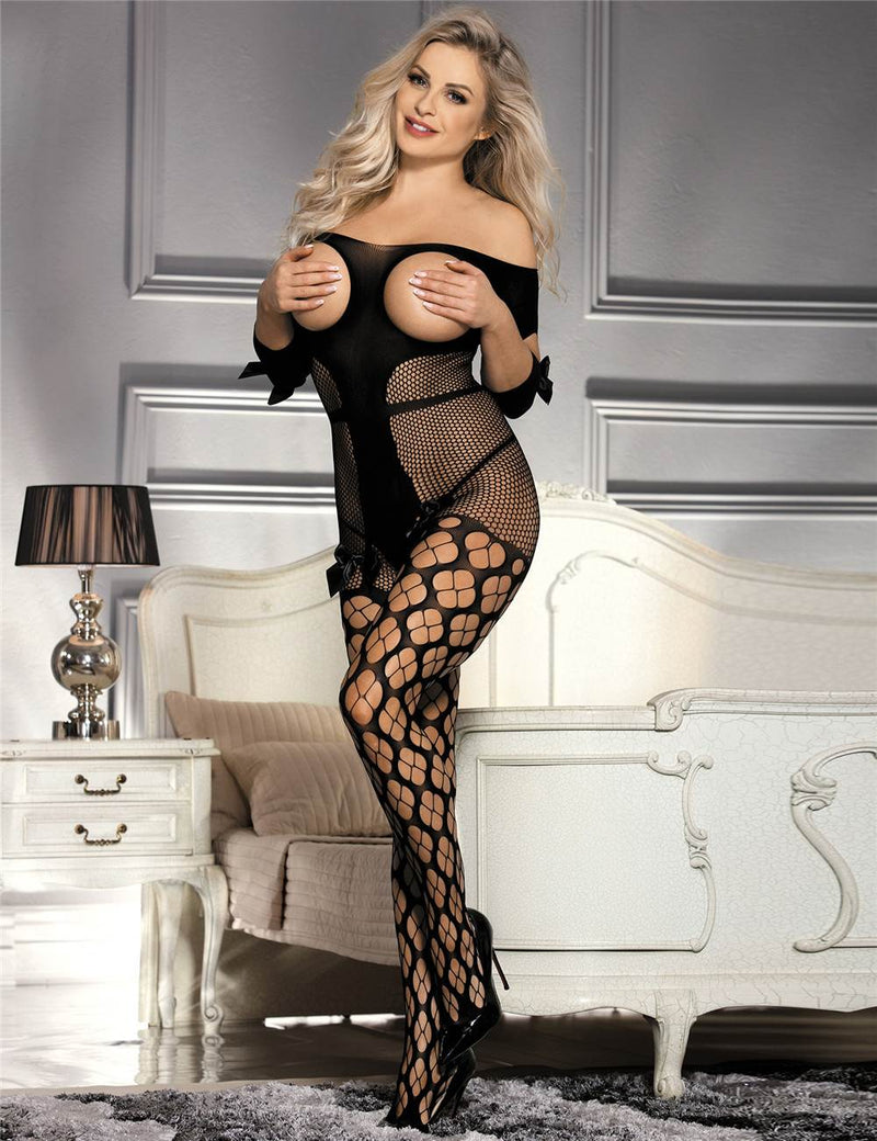 Exquisite Black Sexy Open Cup Off Shoulder Fishnet Bodystocking
