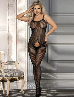 Queen Size Women Sexy Open Crotch Black Fishnet Bodystocking