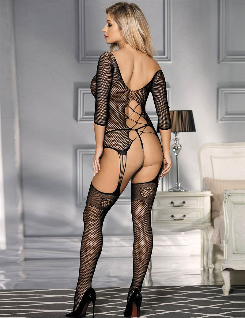 Stylish Long Sleeve Hollow Out Black Fishnet Crotchless Bodystocking
