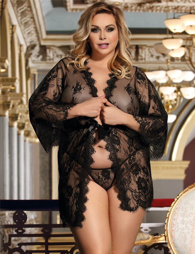 Exquisite Dark Red Plus Size Sheer Soft Lace Robe Sexy Sleepwear