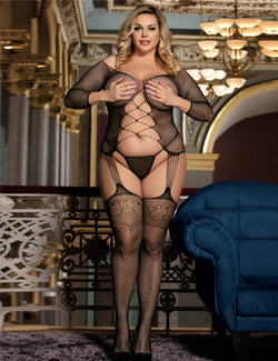Extreme Sexy Hollow Out Plus Size Black Fishnet Body Stocking