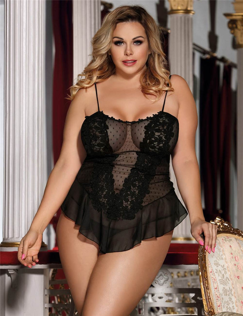 Big Size Exquisite Stereoscopic Flower Black Lingerie Sexy Babydoll
