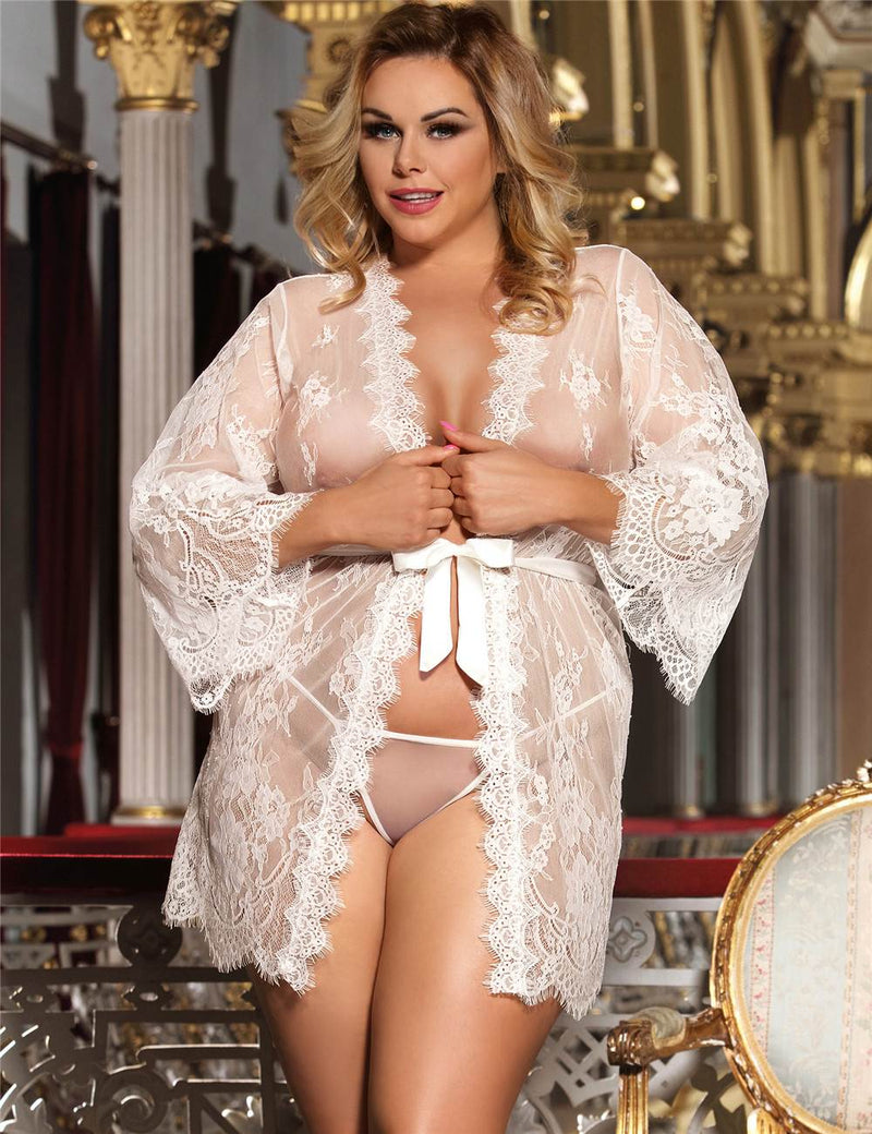 Plus Size Delicate Soft Lace Robe Long Sleeves Sexy Sleepwear