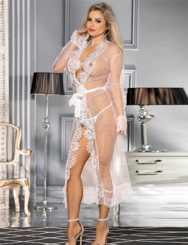 Elegant White Sheer Mesh See Through Maxi Gown Sleepwear