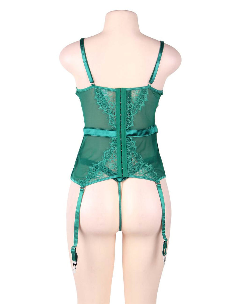 Alluring Plus Size Green Satin Lace Cup Underwired Sexy Babydoll