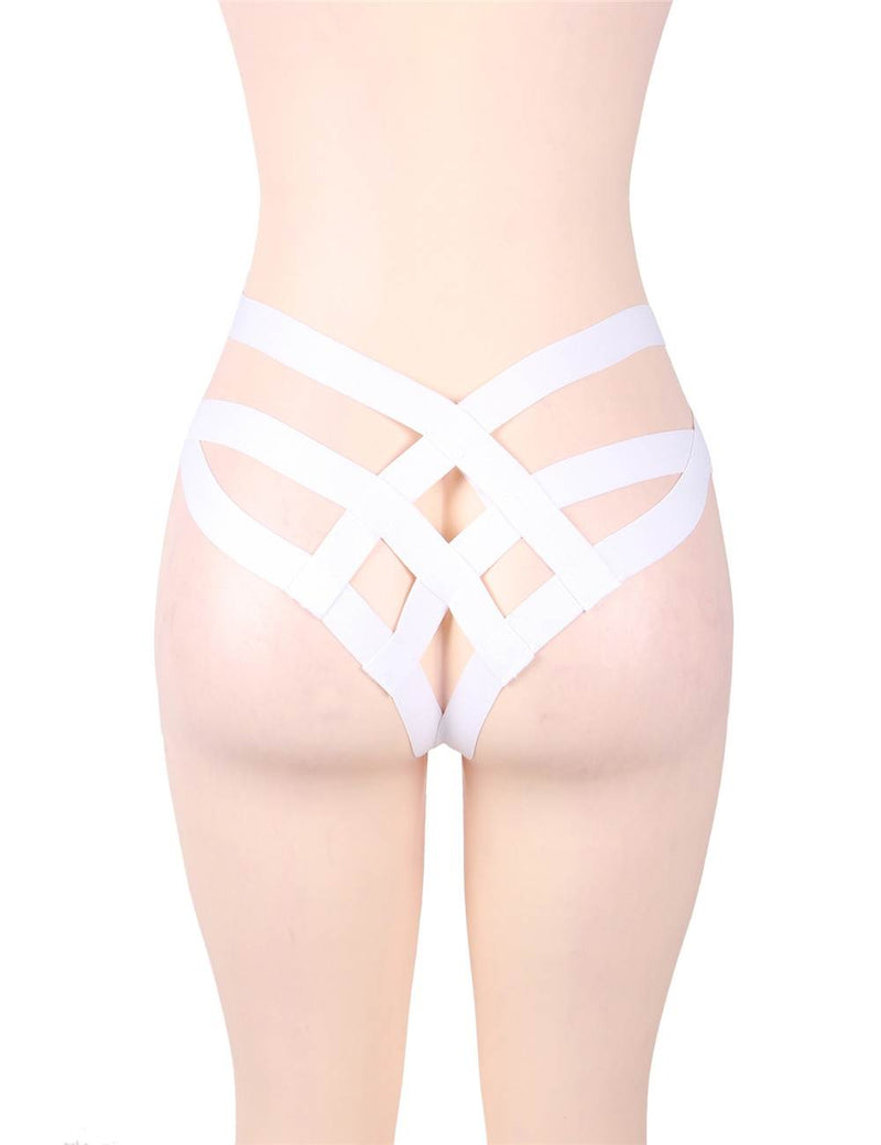Free Shipping Stylish White Bandage Women Briefs Sexy Thong Underwear