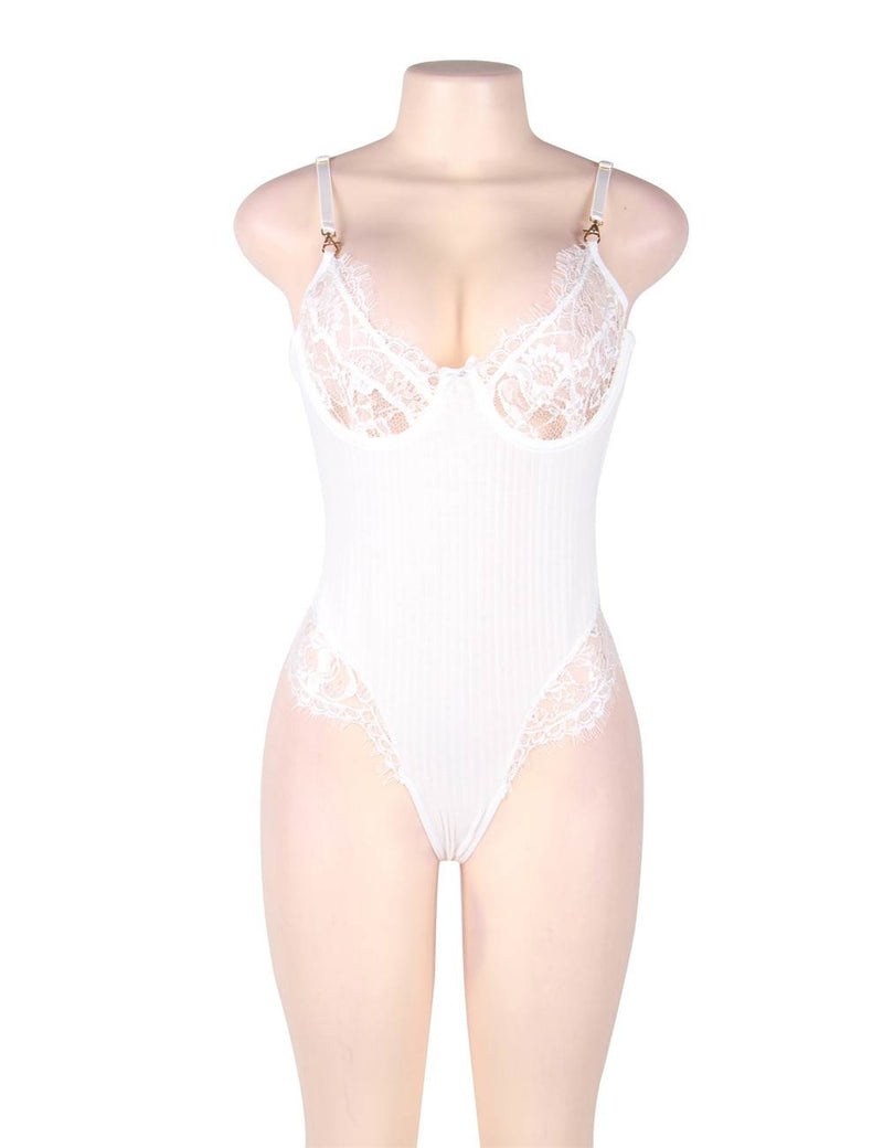 Super Delicate White Lace Eyelash Underwired Sexy Teddy Lingerie