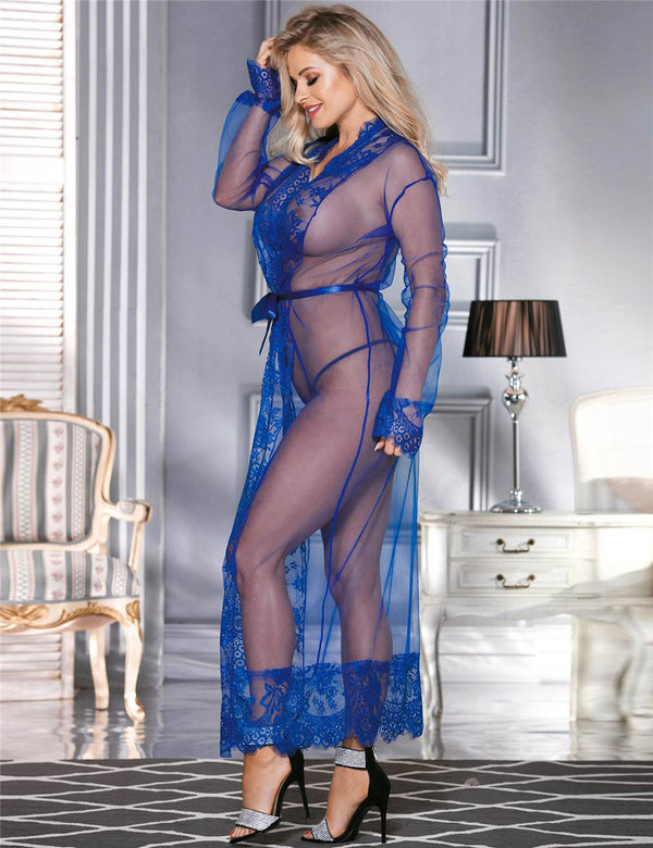 Stylish Blue Sheer Mesh See Through Maxi Sleepgown With Lace