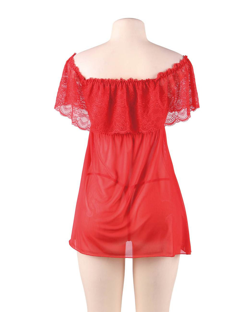 Passion Red Lace Valentines Lingerie Off Shoulder Sexy Babydoll Dress