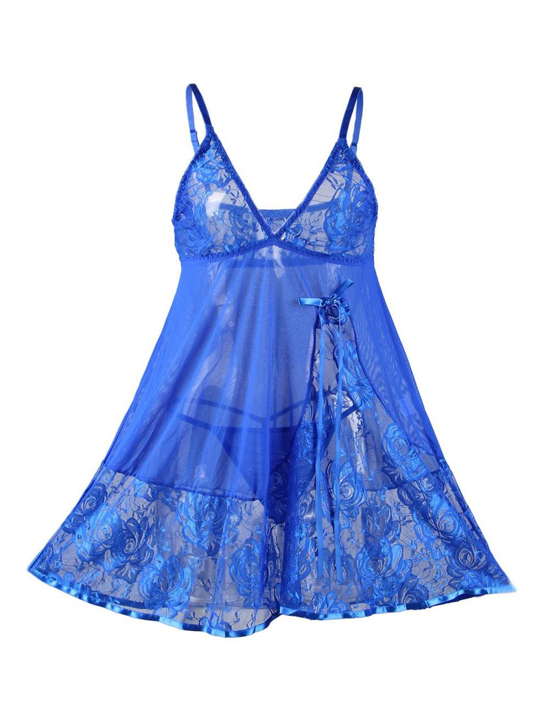 Elegant Blue Mesh and Lace Soft Floral Embroidered Babydoll Dress