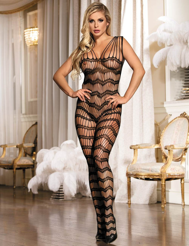Stylish Hollow Out Strappy Open Crotch Sheer Bodystockings