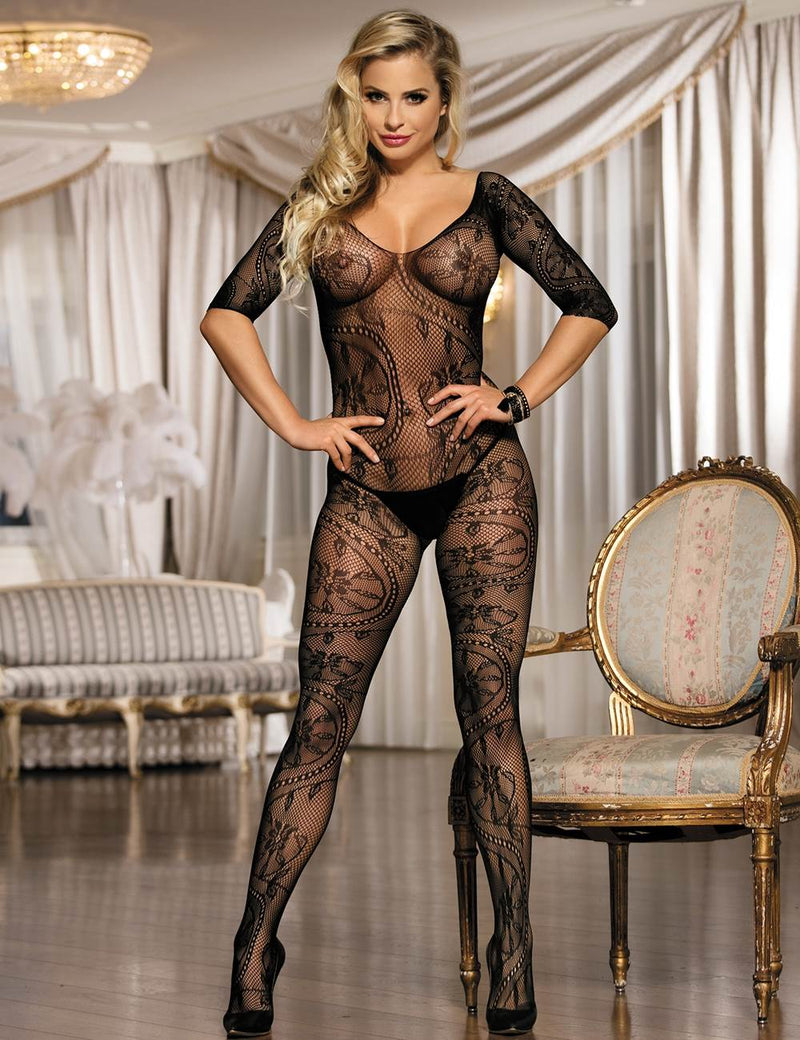 Delicate Beige Fishnet Stretchy Long Sleeves Crotchless Bodystocking