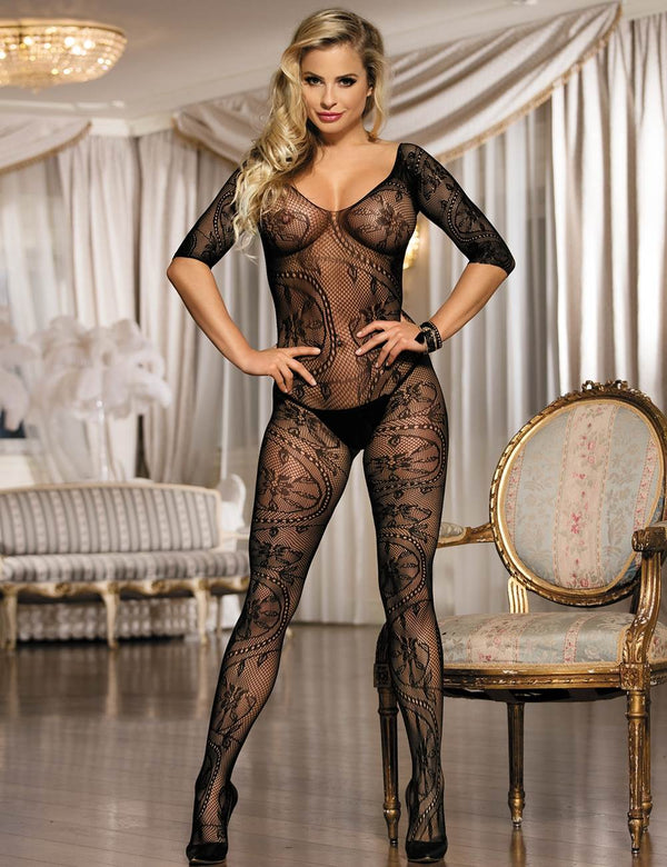 Super Exquisite Black Floral Fishnet Crotchless Body Stockings