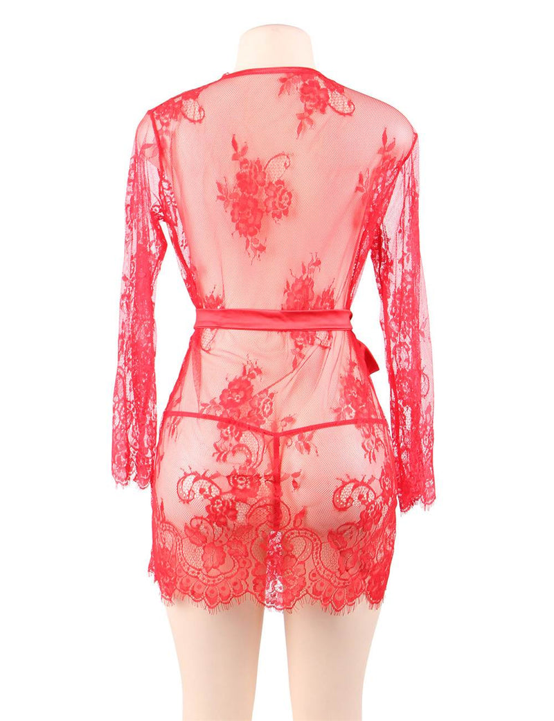 Curvy Plus Size Passion Red Lace Sexy Robe Women Lingerie Set
