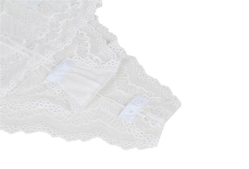 Elegant White Lace Front Fasten Sexy Transparent Teddy Lingerie