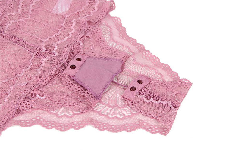 Free Shipping Gorgeous Plus Size Pink Lace See Through Sexy Teddy