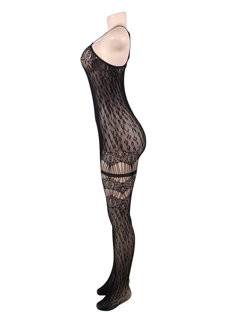 High Stretchy Black Sheer Leopard Pattern Open Crotch Bodystocking