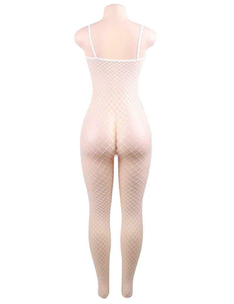 Super Sexy Hollow Out White Fishnet Crotchless Bodystockings