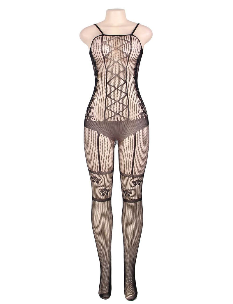 High Quality Hollow Out Women Sexy Black Fishnet Bodystocking
