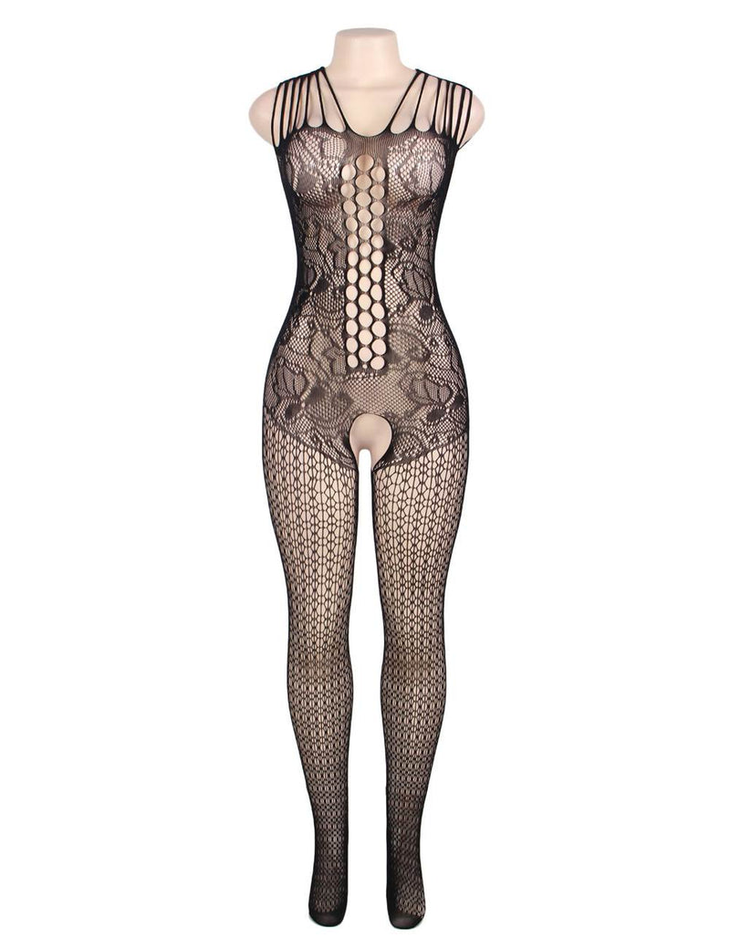 Stylish Floral Pattern Hollow Open Crotch Sexy Black Bodystocking