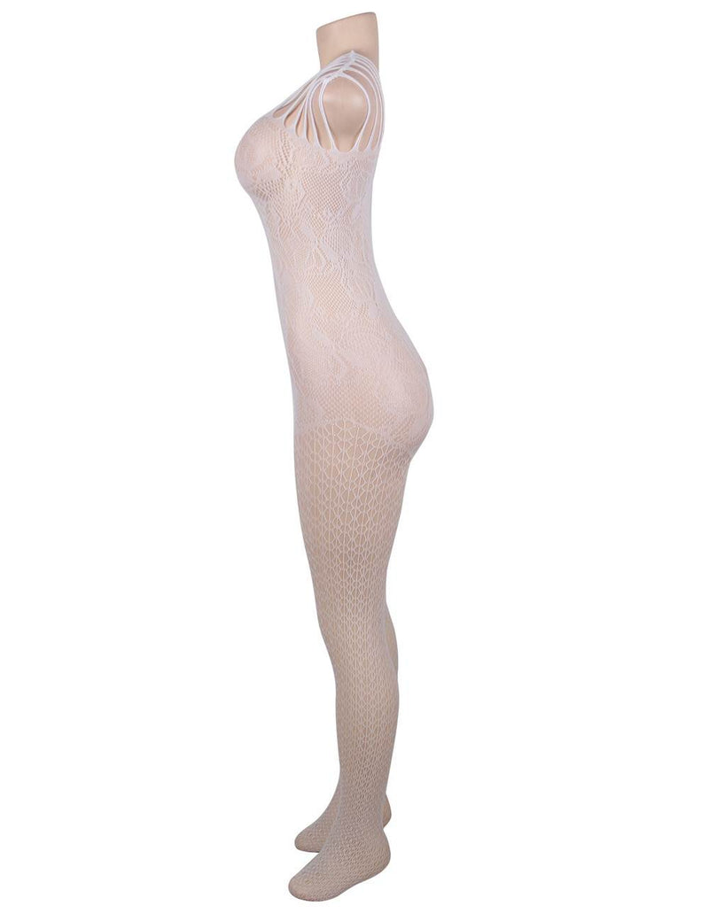 Super Delicate Floral Mesh Open Crotch White Fishnet Bodystocking