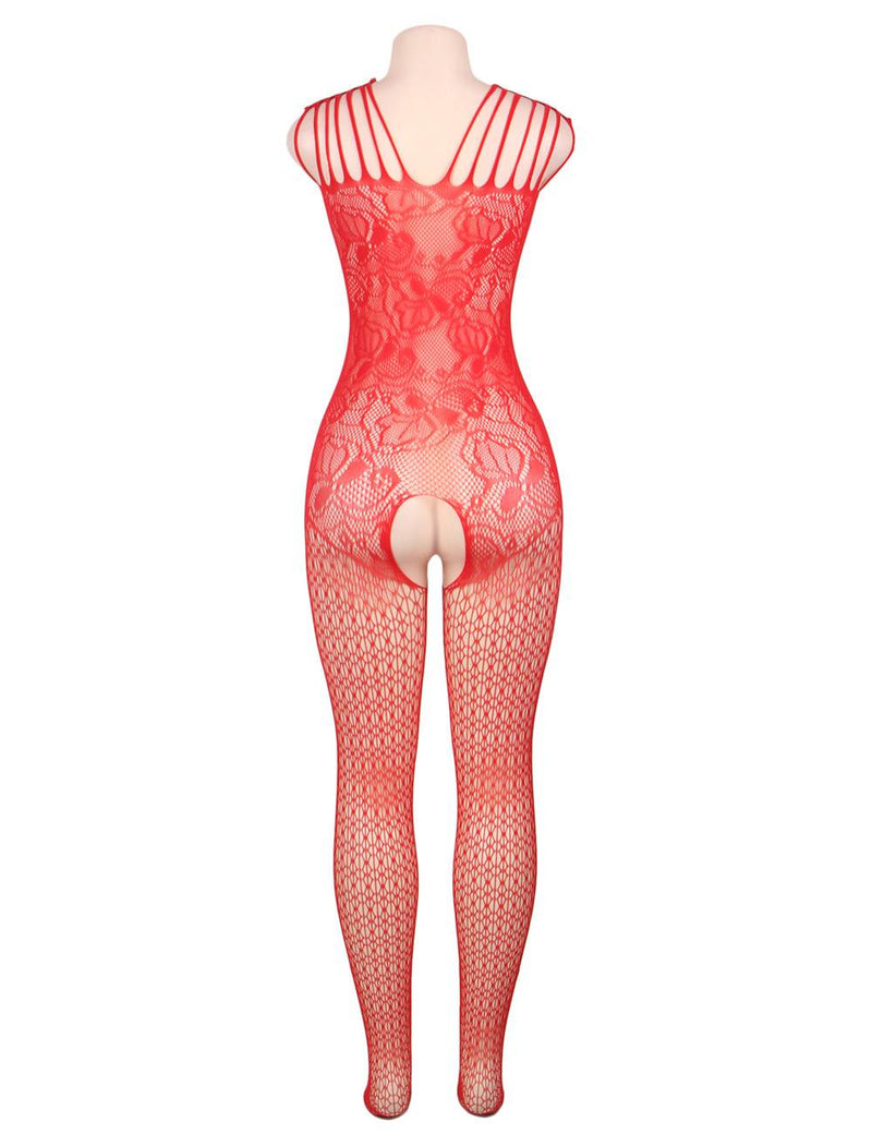 Red Passion Super Delicate Open Crotch Fishnet Body Stockings