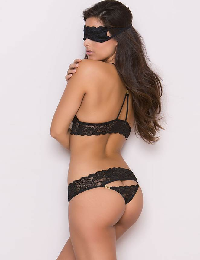 Stylish Black Lace Open Crotch Alluring Bra and Panty Sets