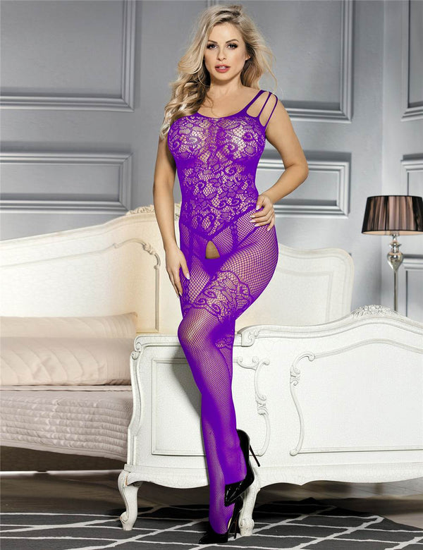 Alluring Purple Mesh Crotchless Sexy Fishnet Body Stockings