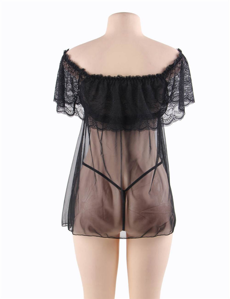 Stylish Valentine's Day Off Shoulder Black Lace Sexy Babydoll Lingerie