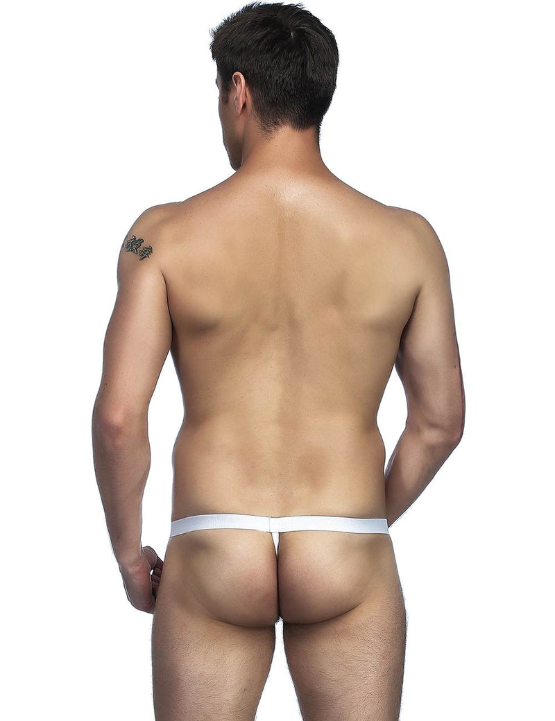 White Sheer Mesh Hollow Sissy Thong T-Back Pouch Panties for Men