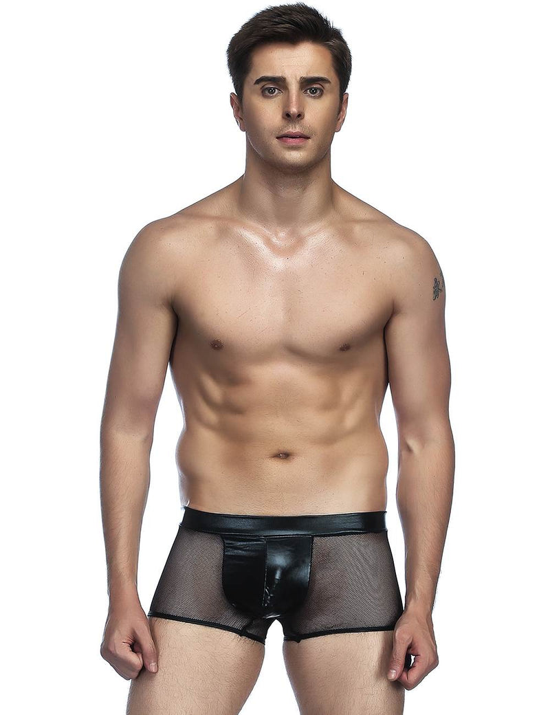 Leather Mesh Stitching Breathable Men Boxers Male Underwear