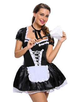 Halloween Satin French Maid Adult Uniform Fancy Dress Costume Plus Size Bavarian Dress Exotic Sexy Kostuum