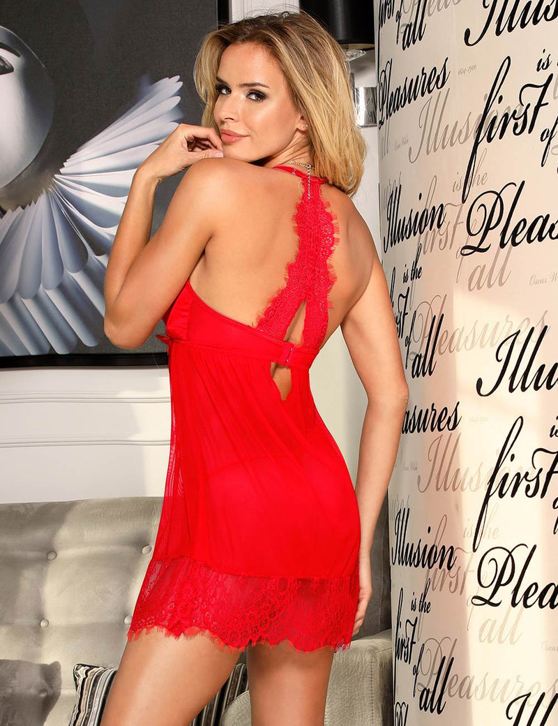 Sexy Red Sheer Mesh Lace Underwire Cup Women Babydoll Sleep Dress