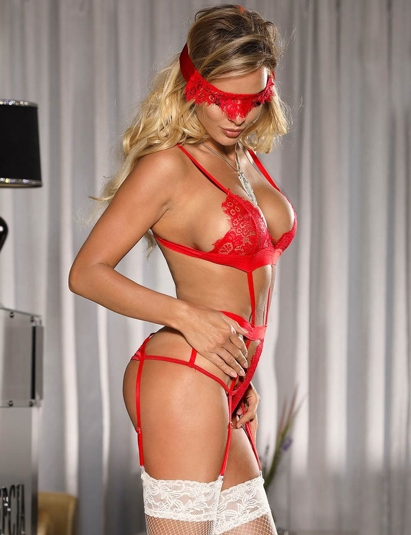 Erotic Red Lace Sheer Strappy Sexy Bra Set With Eye Mask