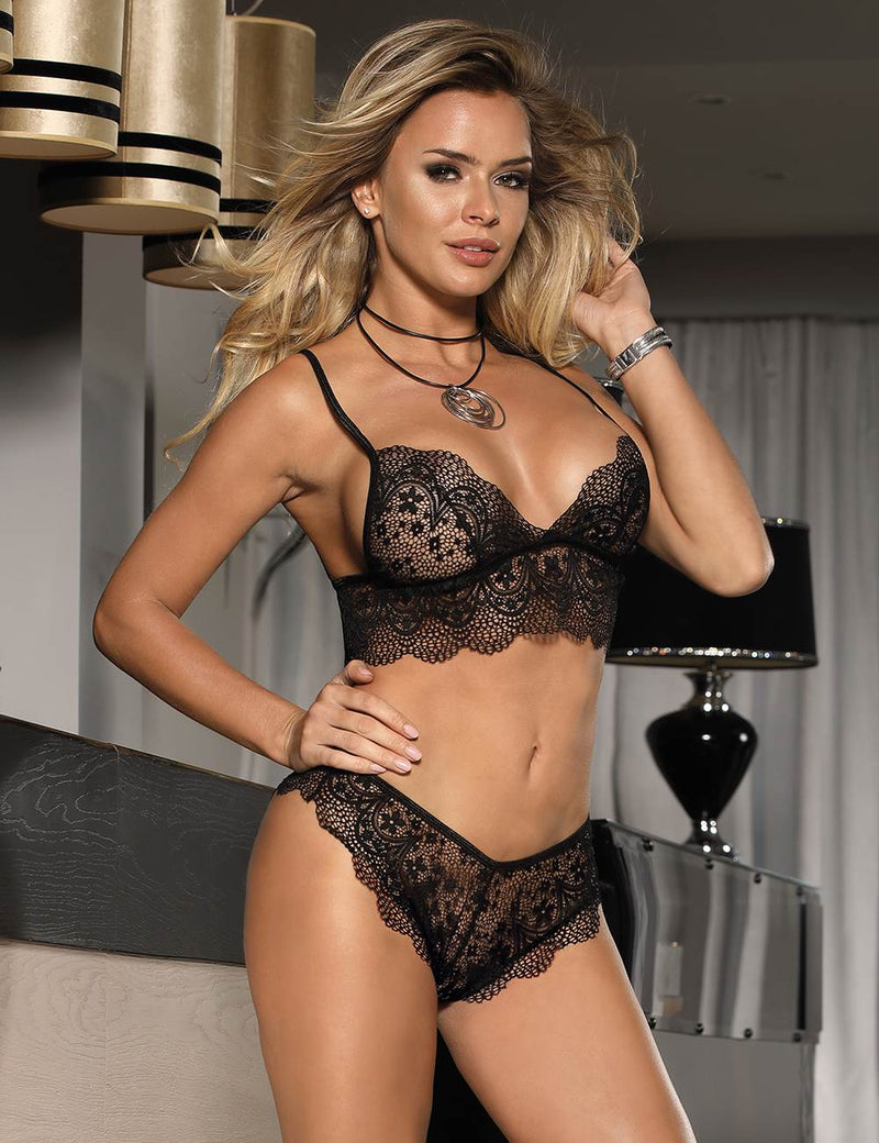 Alluring Sheer Black Lace Elegant Women Bra and Panty Set