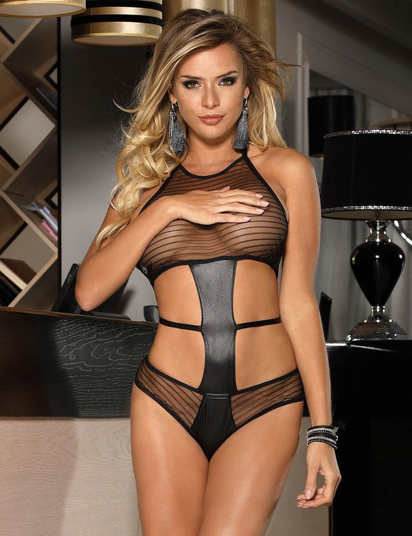 Black Sheer See Through Leather Strap Backless Women Sexy Teddy