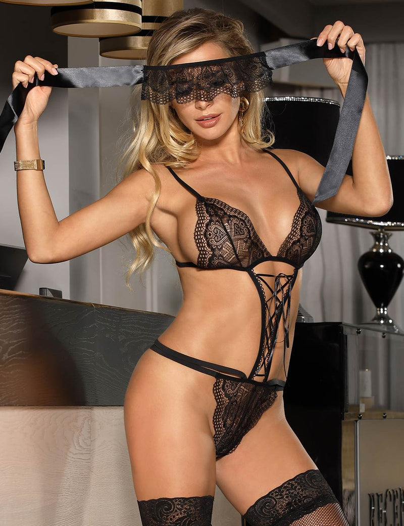 Extreme Erotic Sheer Black Lace Sexy Bra Lingerie Set With Eye Mask