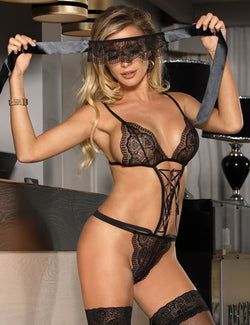 Plus Size Charming Black Lace Sexy Bra Lingerie Set With Eye Mask