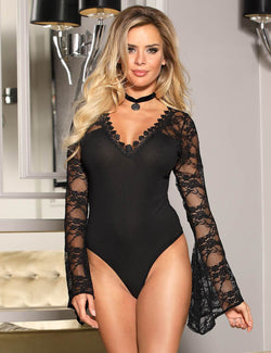 Classy Black Lace Long Sleeves V Neckline Women Full Bodysuit