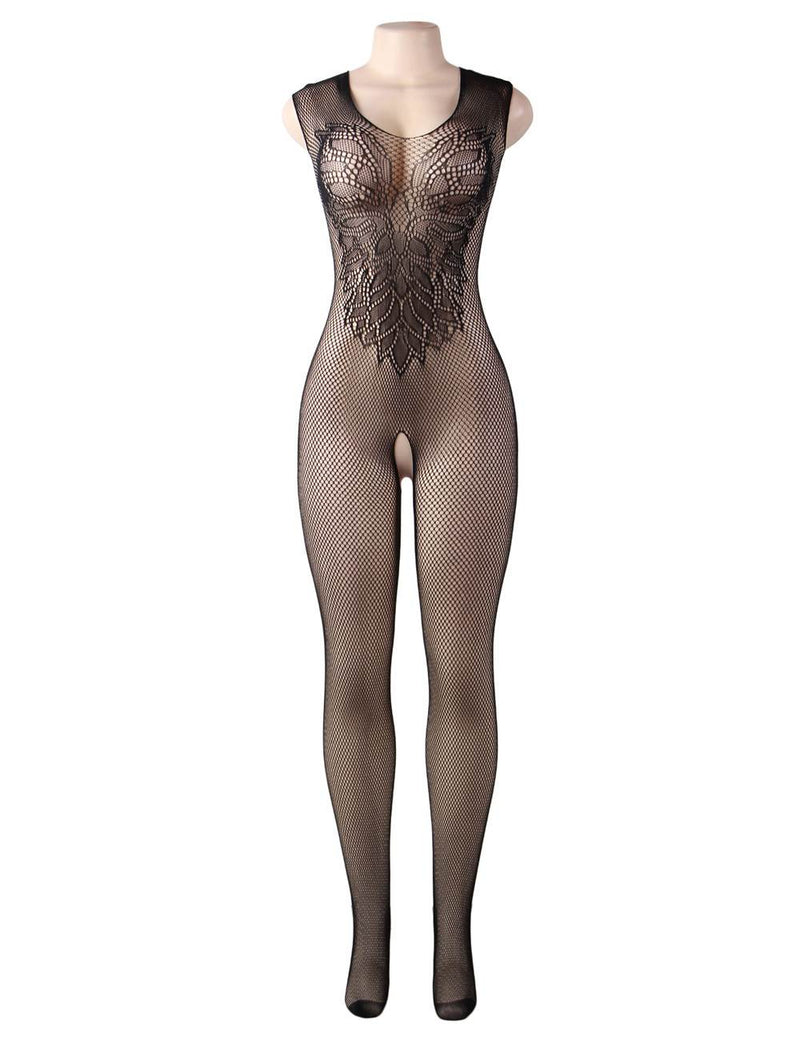 Extreme Delicate Flower Pattern Black Fishnet Sexy BodyStocking